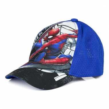 Spiderman pet/cap blauw voor kinderen