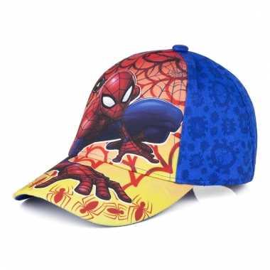 Spiderman pet/cap vlammen blauw voor kinderen