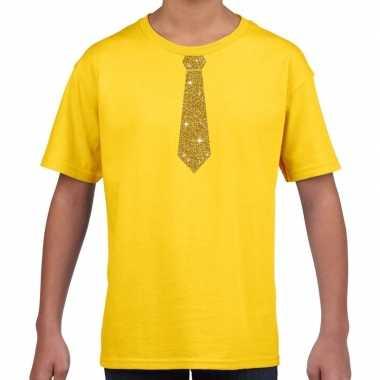 Stropdas goud glitter t-shirt geel voor kinderen