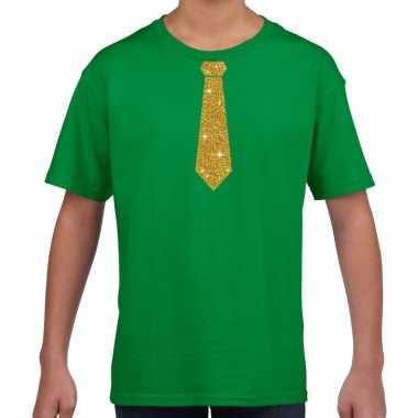 Stropdas goud glitter t-shirt groen voor kinderen
