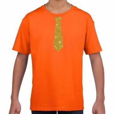 Stropdas goud glitter t-shirt oranje voor kinderen