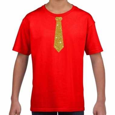Stropdas goud glitter t-shirt rood voor kinderen