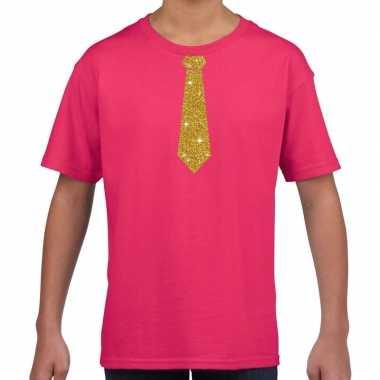 Stropdas goud glitter t-shirt roze voor kinderen