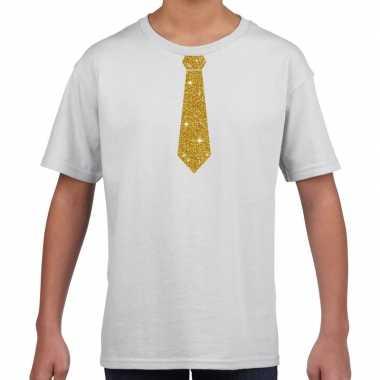 Stropdas goud glitter t-shirt wit voor kinderen