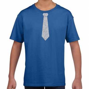 Stropdas zilver glitter t-shirt blauw voor kinderen