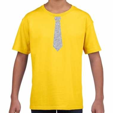Stropdas zilver glitter t-shirt geel voor kinderen