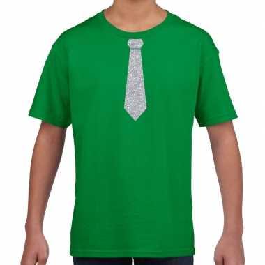 Stropdas zilver glitter t-shirt groen voor kinderen