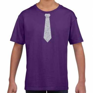 Stropdas zilver glitter t-shirt paars voor kinderen