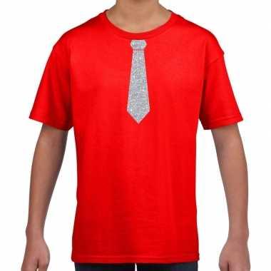 Stropdas zilver glitter t-shirt rood voor kinderen