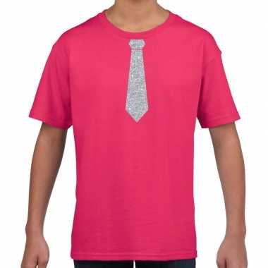 Stropdas zilver glitter t-shirt roze voor kinderen
