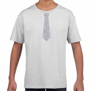 Stropdas zilver glitter t-shirt wit voor kinderen