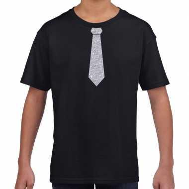 Stropdas zilver glitter t-shirt zwart voor kinderen