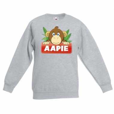 Sweater grijs voor kinderen met aapie het aapje