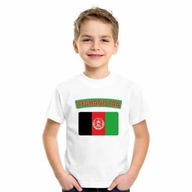 T shirt met afghaanse vlag wit kinderen