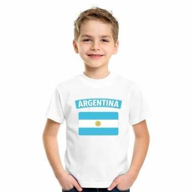 T shirt met argentijnse vlag wit kinderen