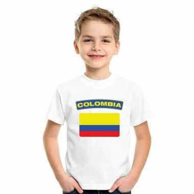 T shirt met colombiaanse vlag wit kinderen