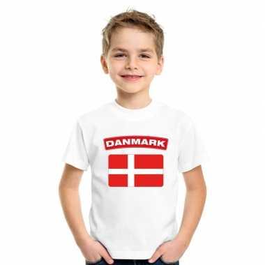 T-shirt met deense vlag wit kinderen