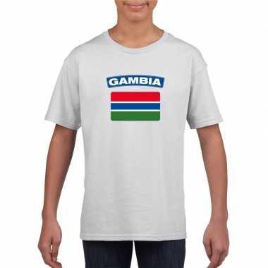 T shirt met gambiaanse vlag wit kinderen