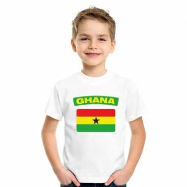 T shirt met ghanese vlag wit kinderen