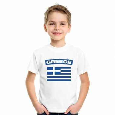 T shirt met griekse vlag wit kinderen