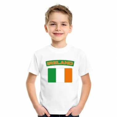T shirt met ierse vlag wit kinderen