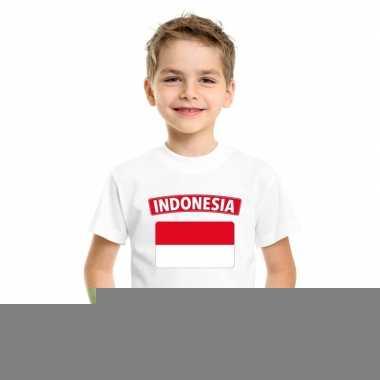 T shirt met indonesische vlag wit kinderen