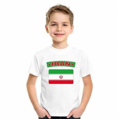 T shirt met iraanse vlag wit kinderen