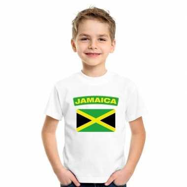T shirt met jamaicaanse vlag wit kinderen