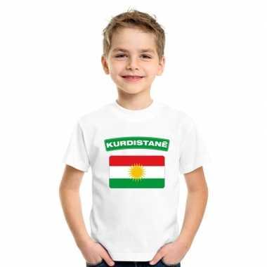 T shirt met koerdistaanse vlag wit kinderen