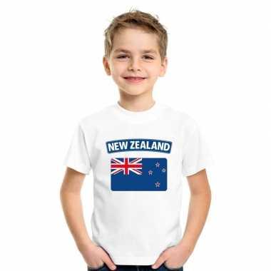 T shirt met nieuw zeelandse vlag wit kinderen
