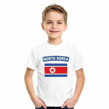 T shirt met noord koreaanse vlag wit kinderen