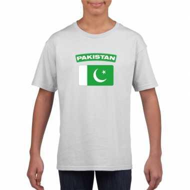 T shirt met pakistaanse vlag wit kinderen