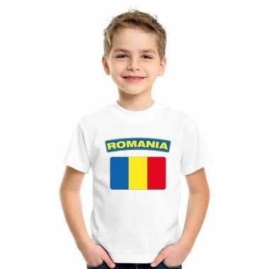 T shirt met roemeense vlag wit kinderen