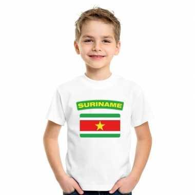 T shirt met surinaamse vlag wit kinderen