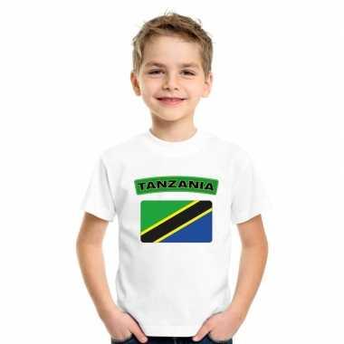T shirt met tanzaniaanse vlag wit kinderen