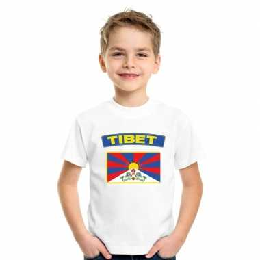 T shirt met tibetaanse vlag wit kinderen