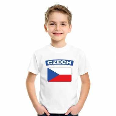 T shirt met tsjechische vlag wit kinderen