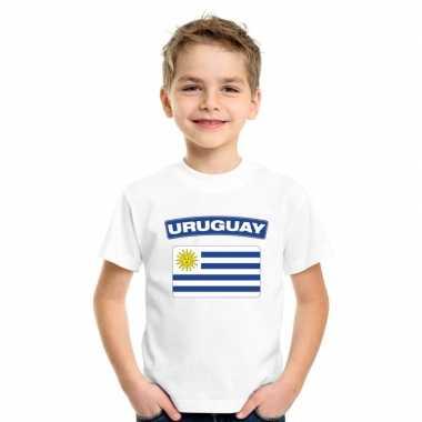 T shirt met uruguayaanse vlag wit kinderen