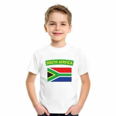T shirt met zuid afrikaanse vlag wit kinderen