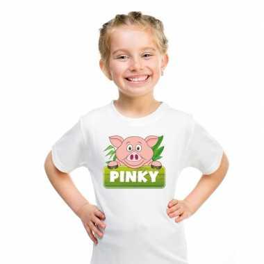 T-shirt wit voor kinderen met pinky de big
