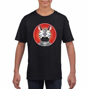 T-shirt zebra zwart kinderen