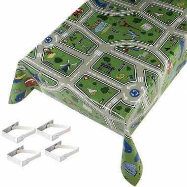 Tafelkleed/tafelzeil kinder speelkleed 140x245 cm met 4 klemmen
