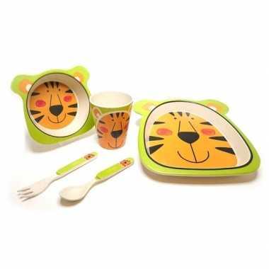 Tijger dieren thema bamboe kinderservies set 5-delig