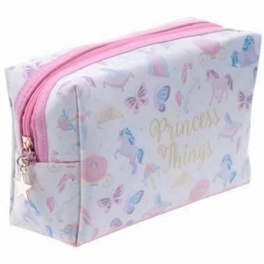 Toilettas/make-up tas eenhoorn/unicorn wit 20 cm voor kinderen