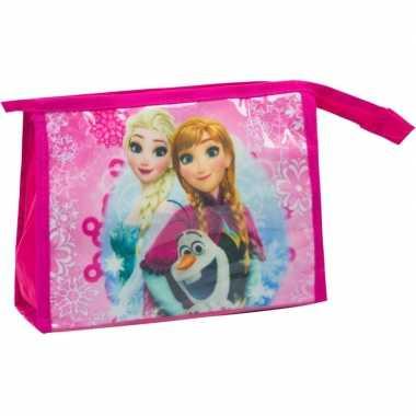 Toilettas/make-up tas frozen fuchsia roze 21,5 cm voor kinderen