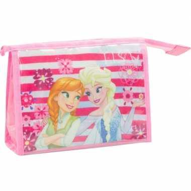 Toilettas/make-up tas frozen licht roze 21,5 cm voor kinderen
