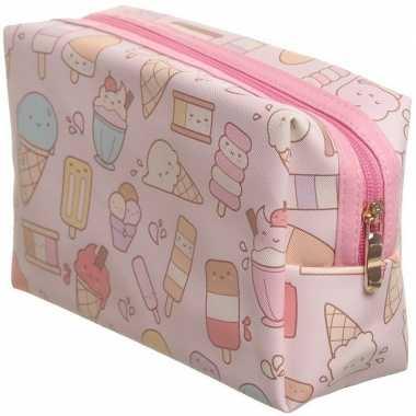 Toilettas/make-up tas ijsjes/ijsco roze 19 cm voor kinderen