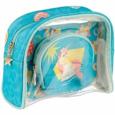Toilettas/make-up tassen set eenhoorn/unicorn voor kinderen