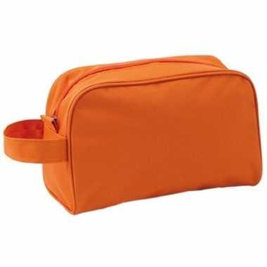 Toilettas oranje met handvat 21,5 cm voor kinderen