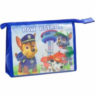 Toilettas paw patrol blauw 21,5 cm voor kinderen